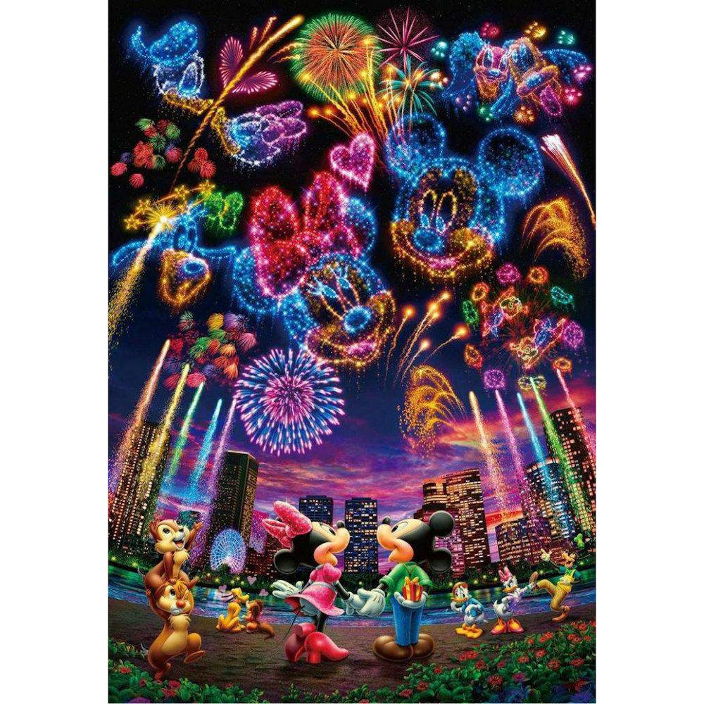 Mickey og Minnie ser fyrværkeri 30x40 cm