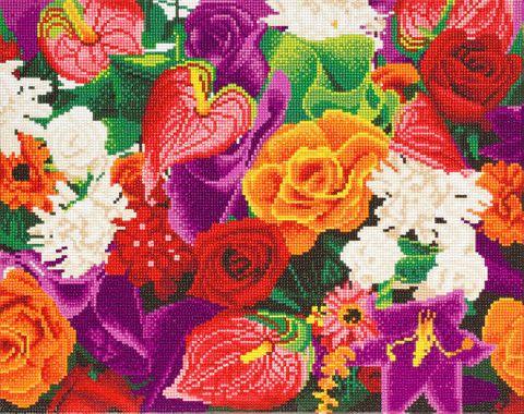Crystal Art på ramme 40x50 cm: Masser af blomster