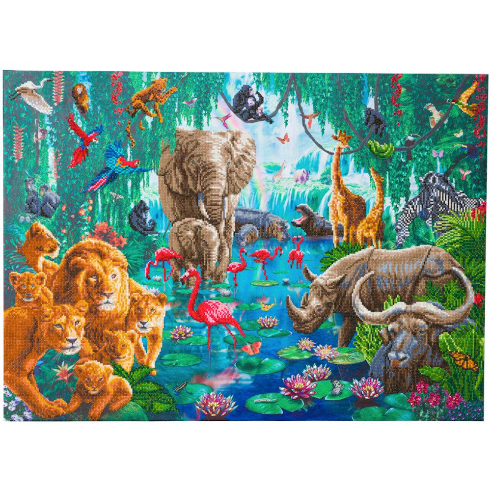 Crystal Art på ramme 65x90 cm: Dyrene i junglen