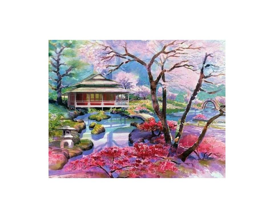 Farvestrålende Sakuras 48x38 cm