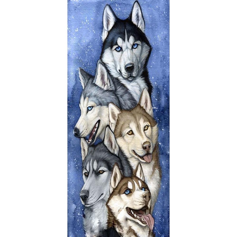 Team of huskies 38x70 cm