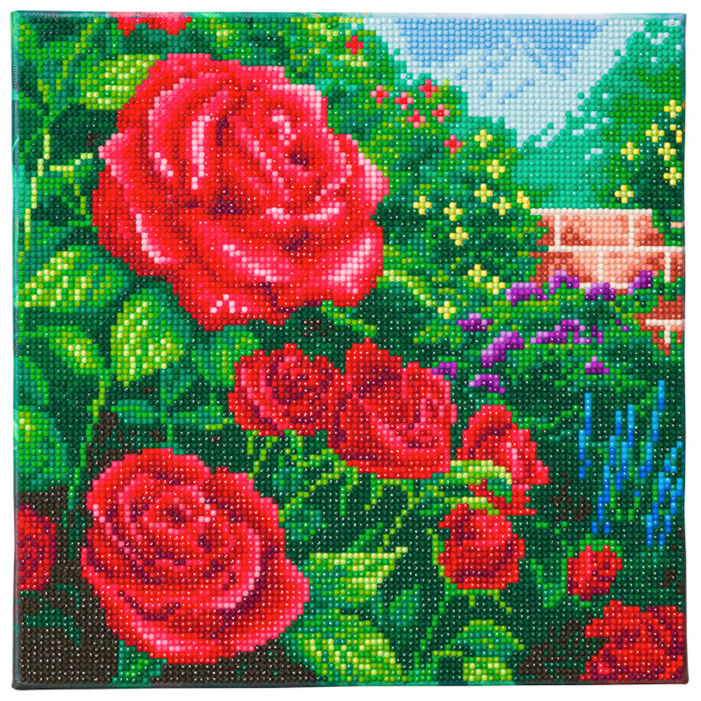 Crystal Art på ramme 30x30 cm: Thomas Kinkade, Perfect Red Rose