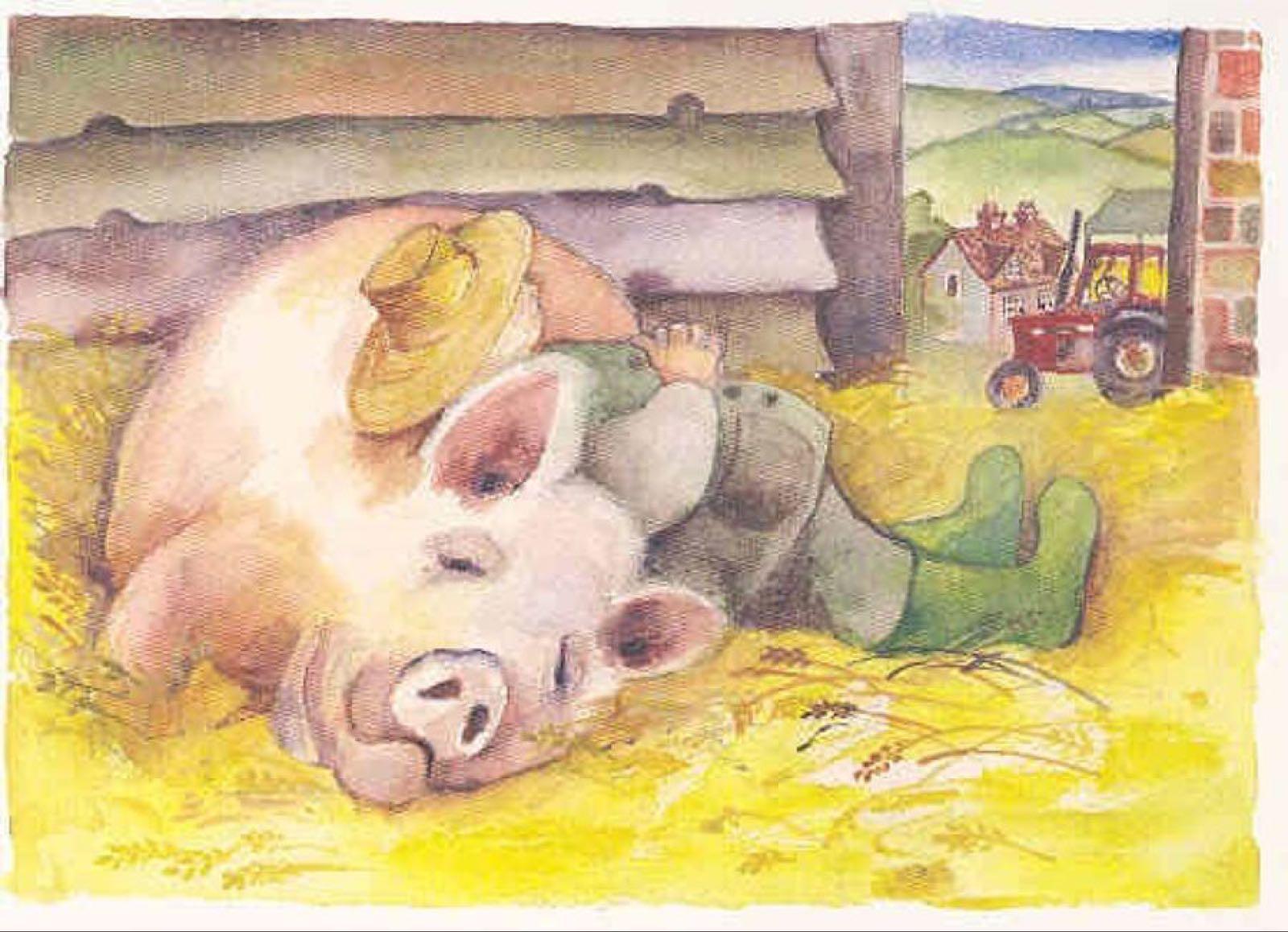 'Farmer & His Pig' Furzedown Gallery Mini Card