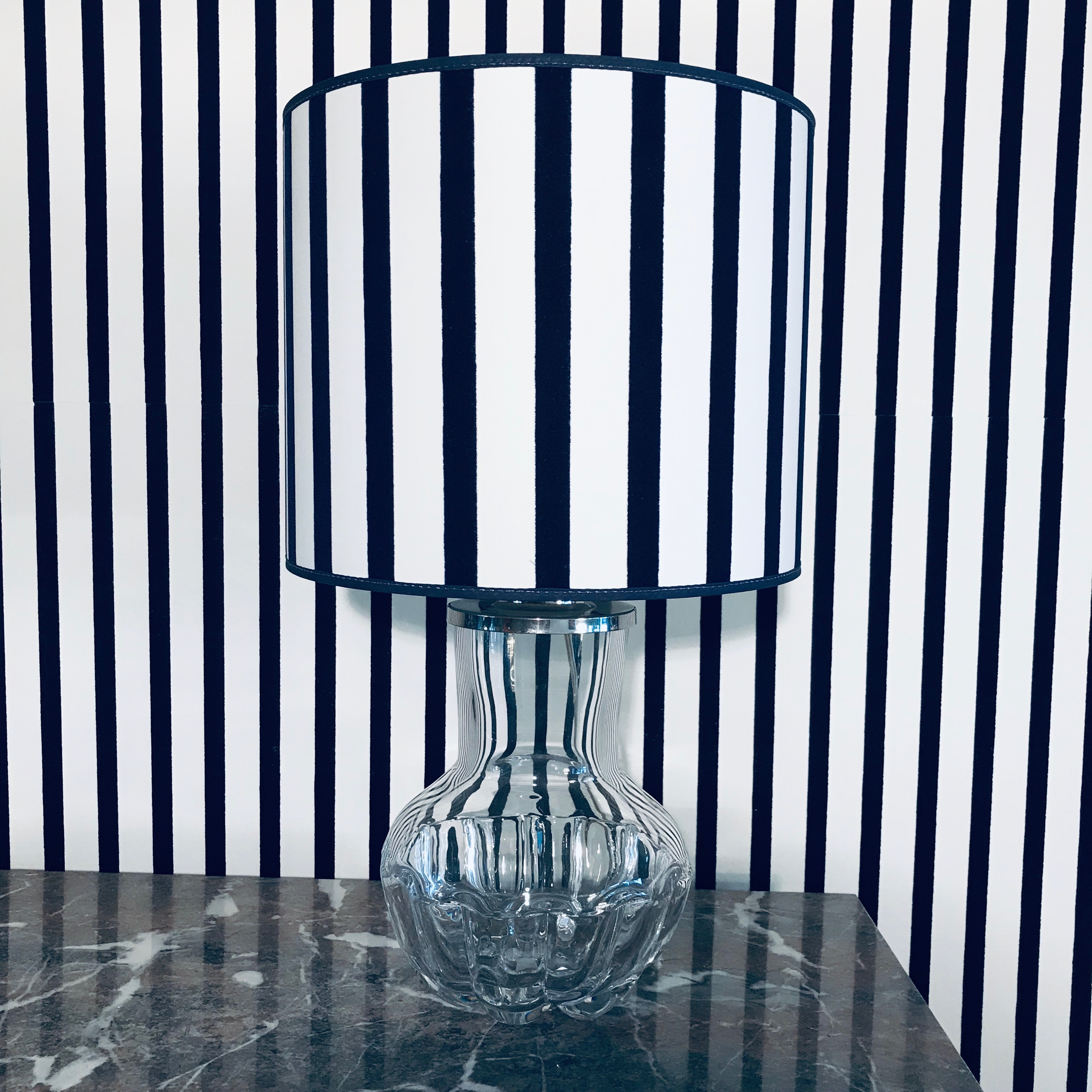 Orrefors Lamp With Striped Lamp Shade