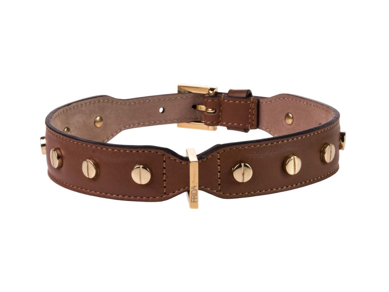 FRIDA FIRENZE Collar Stud Screw Large, Brown