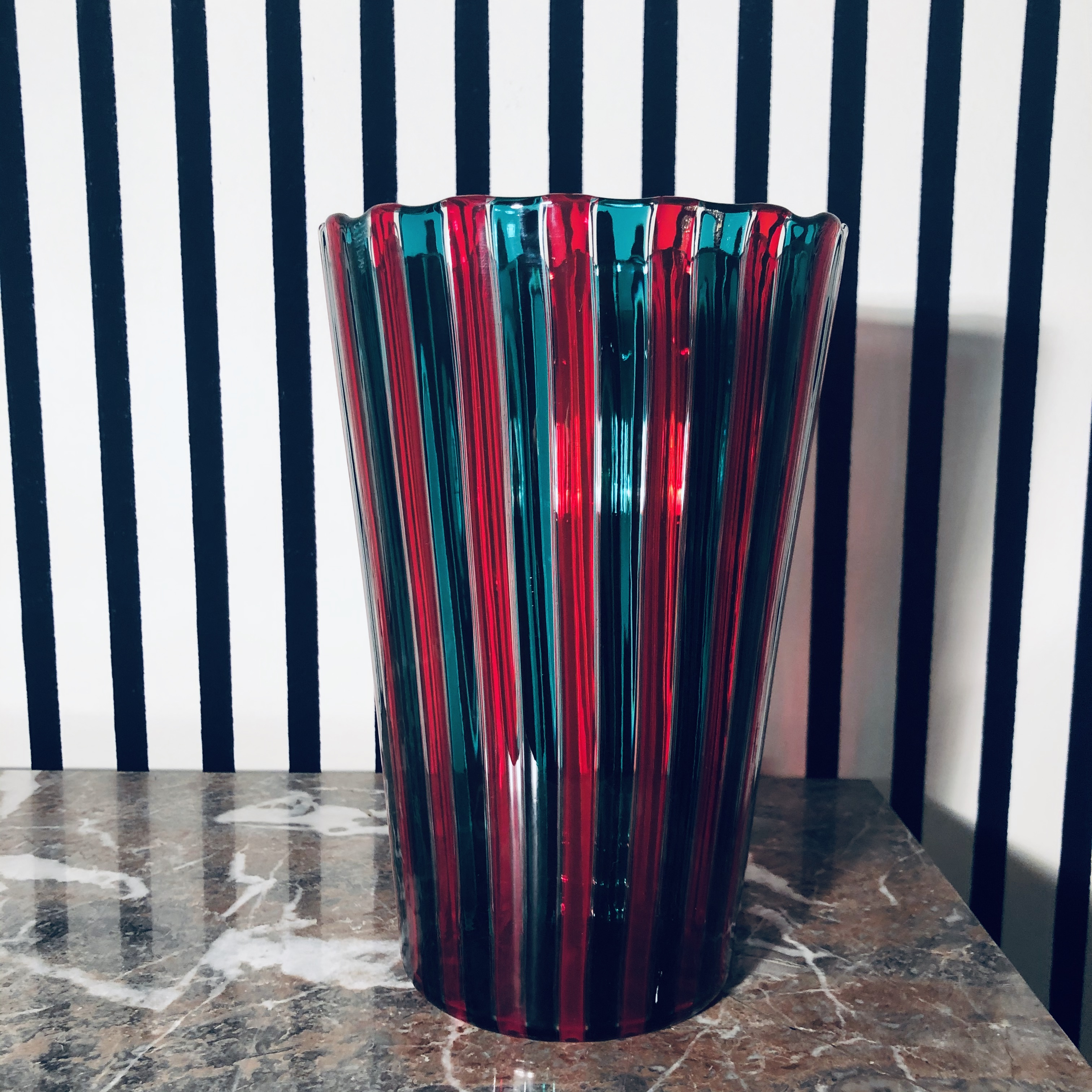 Gio Ponti Venini Vase, Red/Green