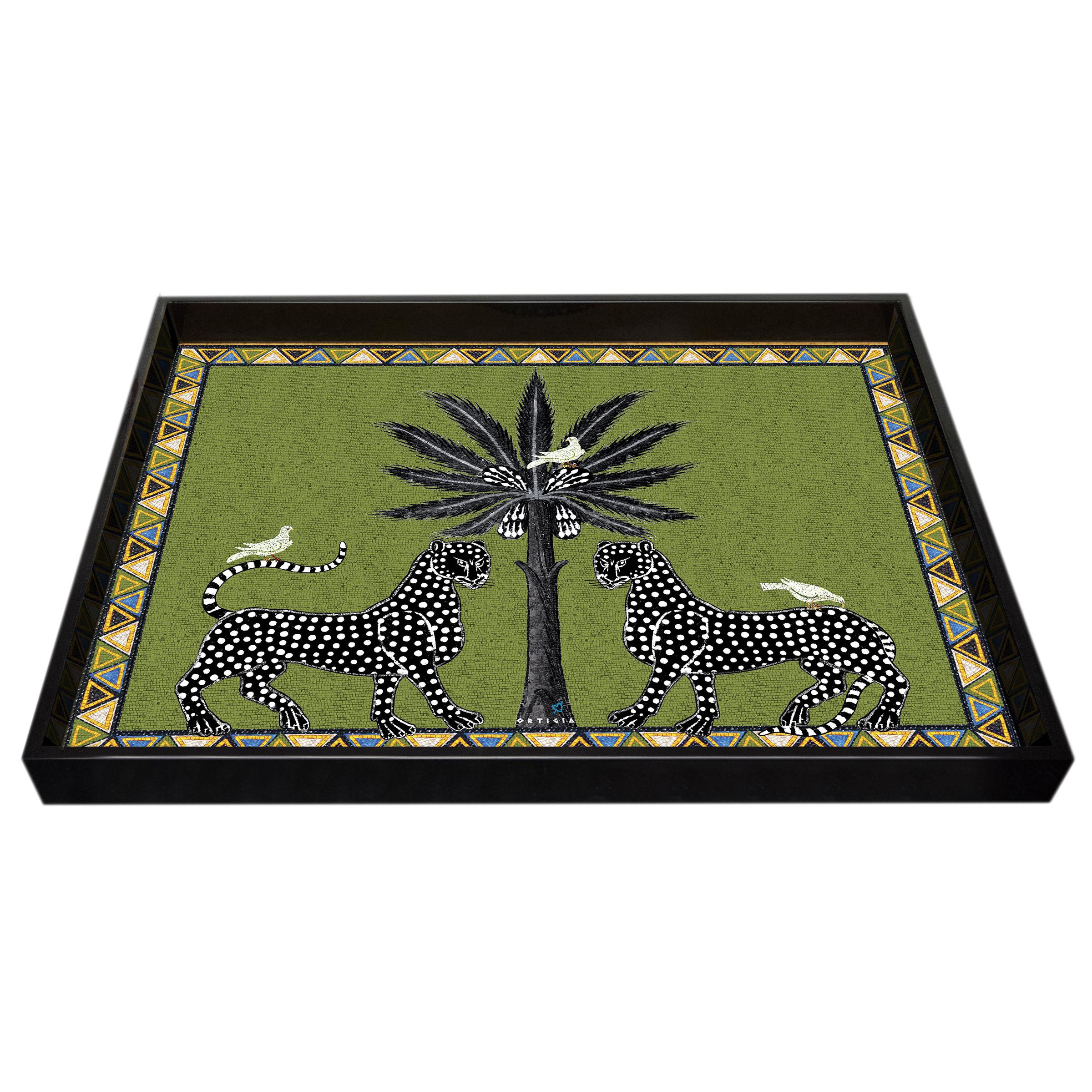 ORTIGIA, Tray Large Green Mosaico