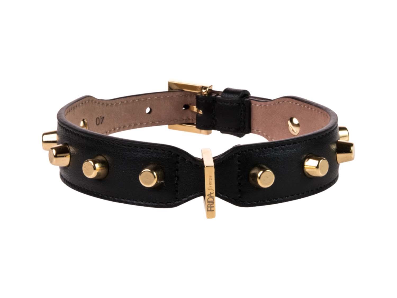 FRIDA FIRENZE Collar Stud Bag Large, Black