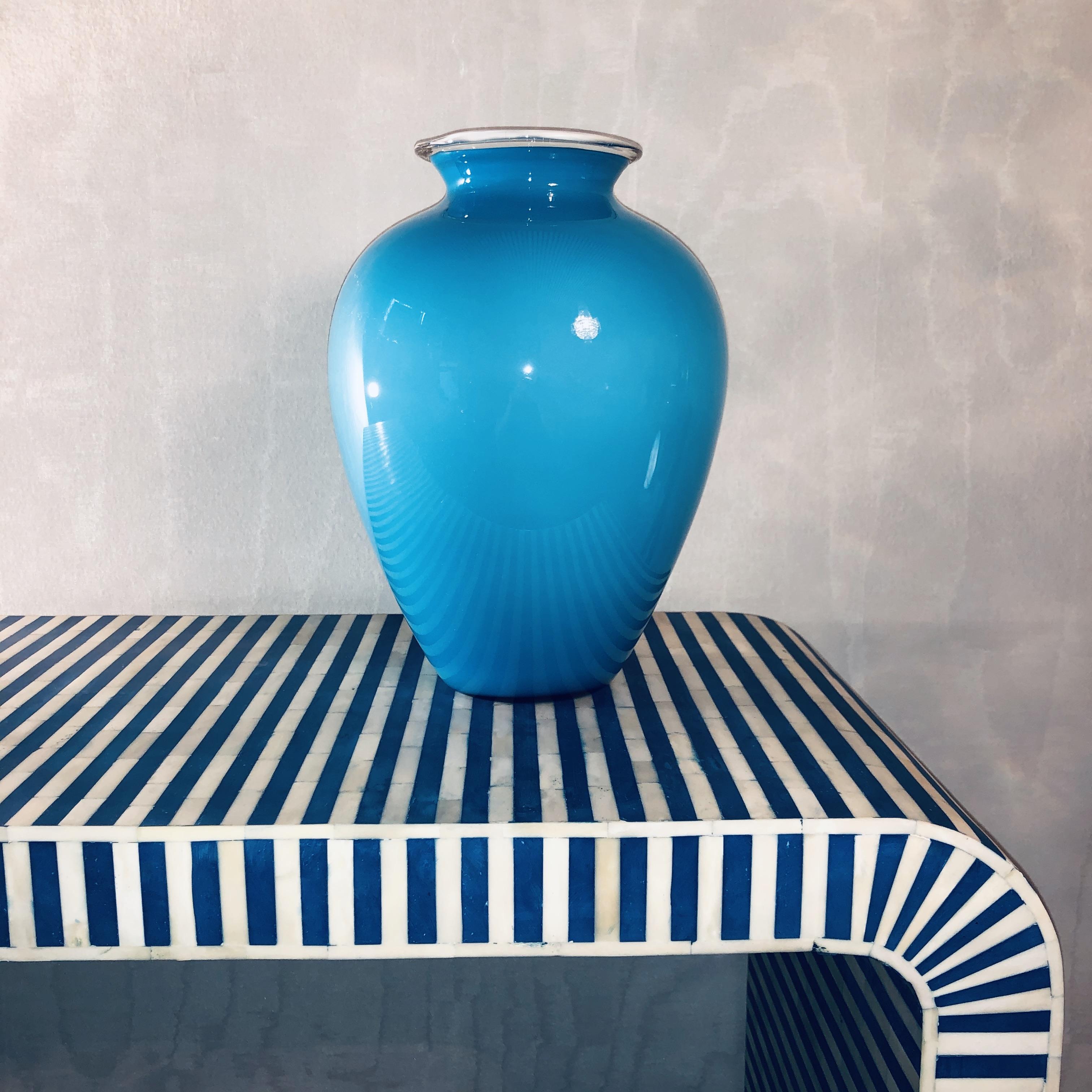 Large Venini Vase, Turquoise