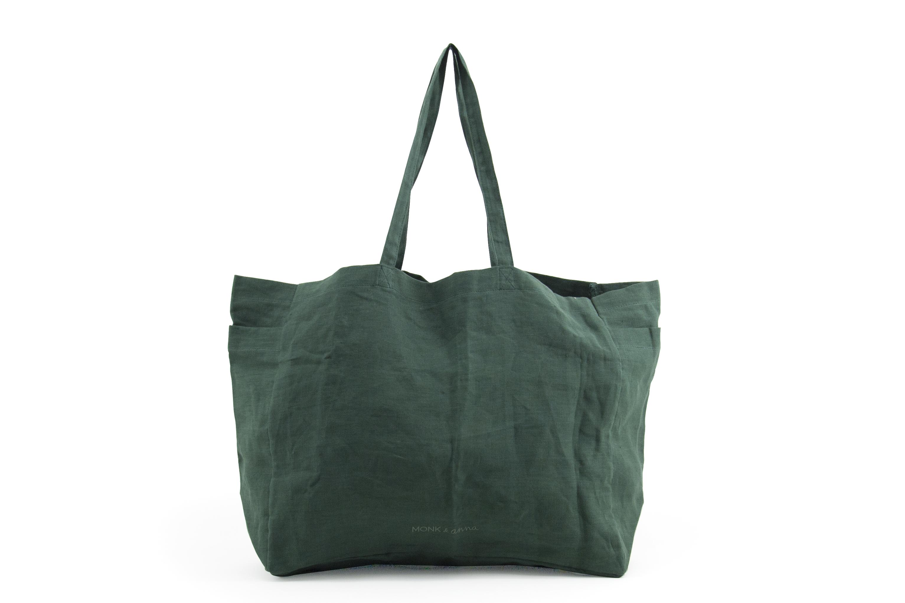 Large Linen Shopper, Forest Green
