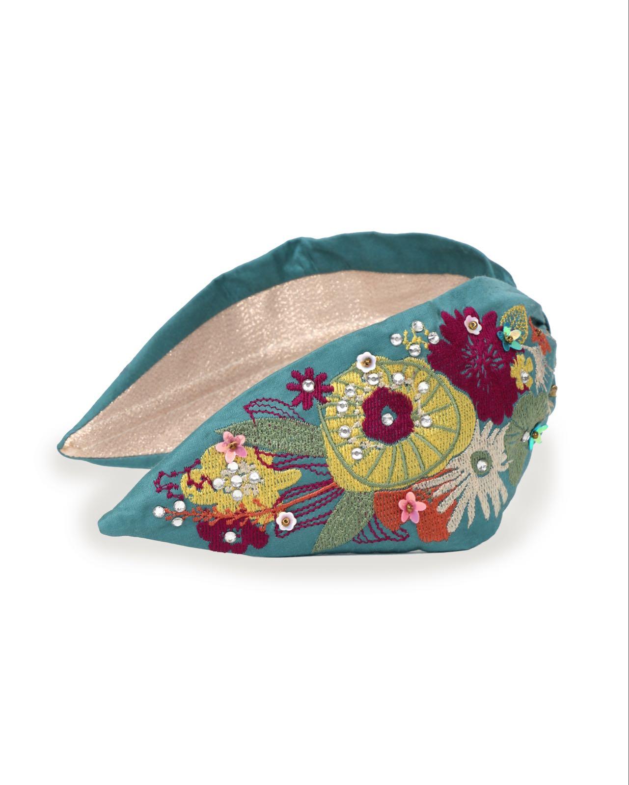 Powder floral turquoise headband