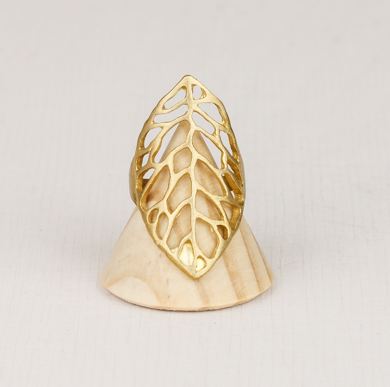 Cut-out Leaf Adjustable Brass Ring by State of A