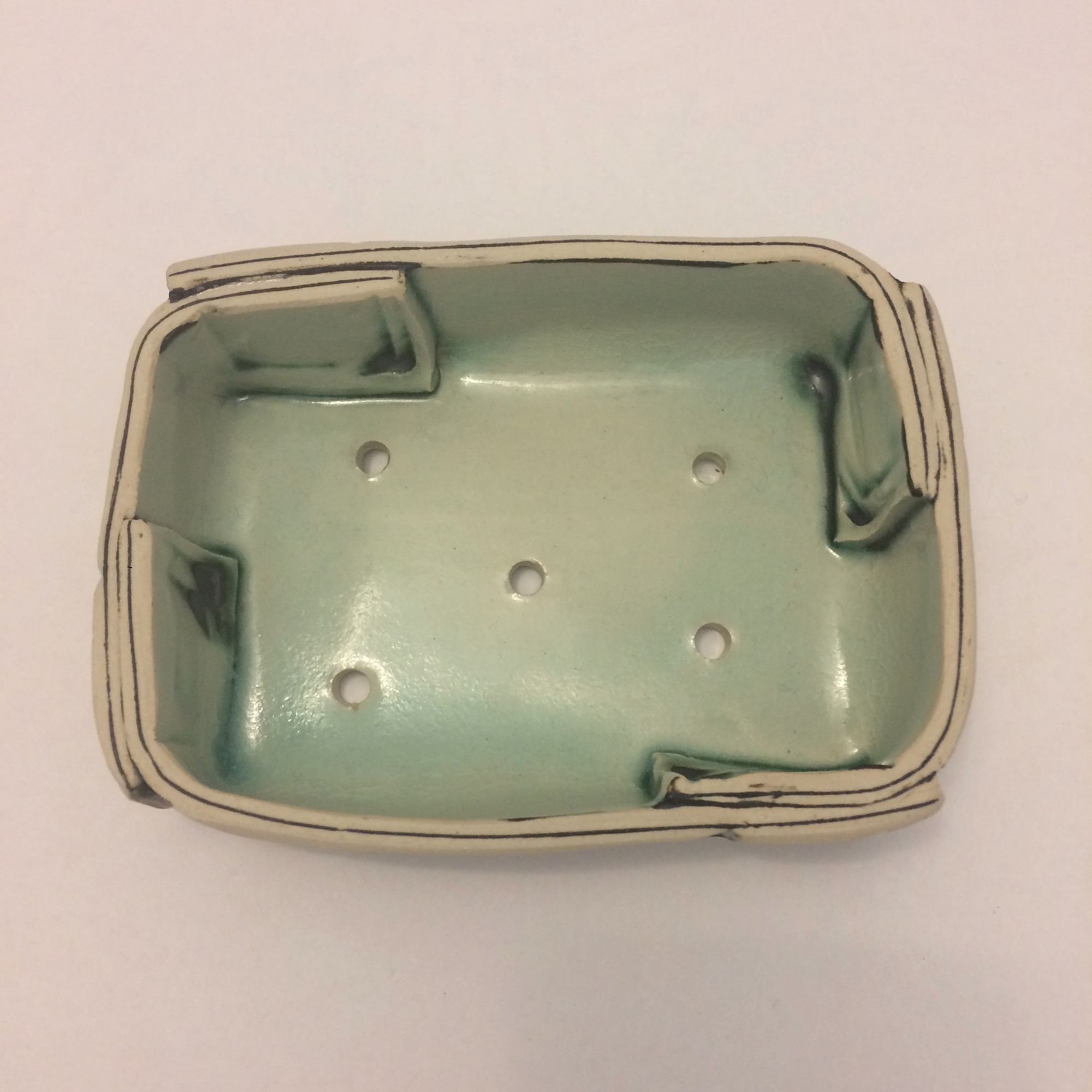Handmade Pearl Blue Stoneware Soap Dish by Fiona Veacock
