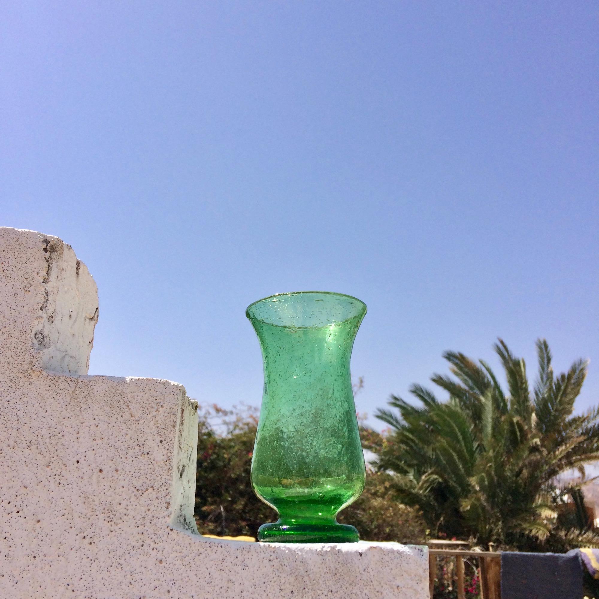 Egyptian Handblown Green Glass Vase