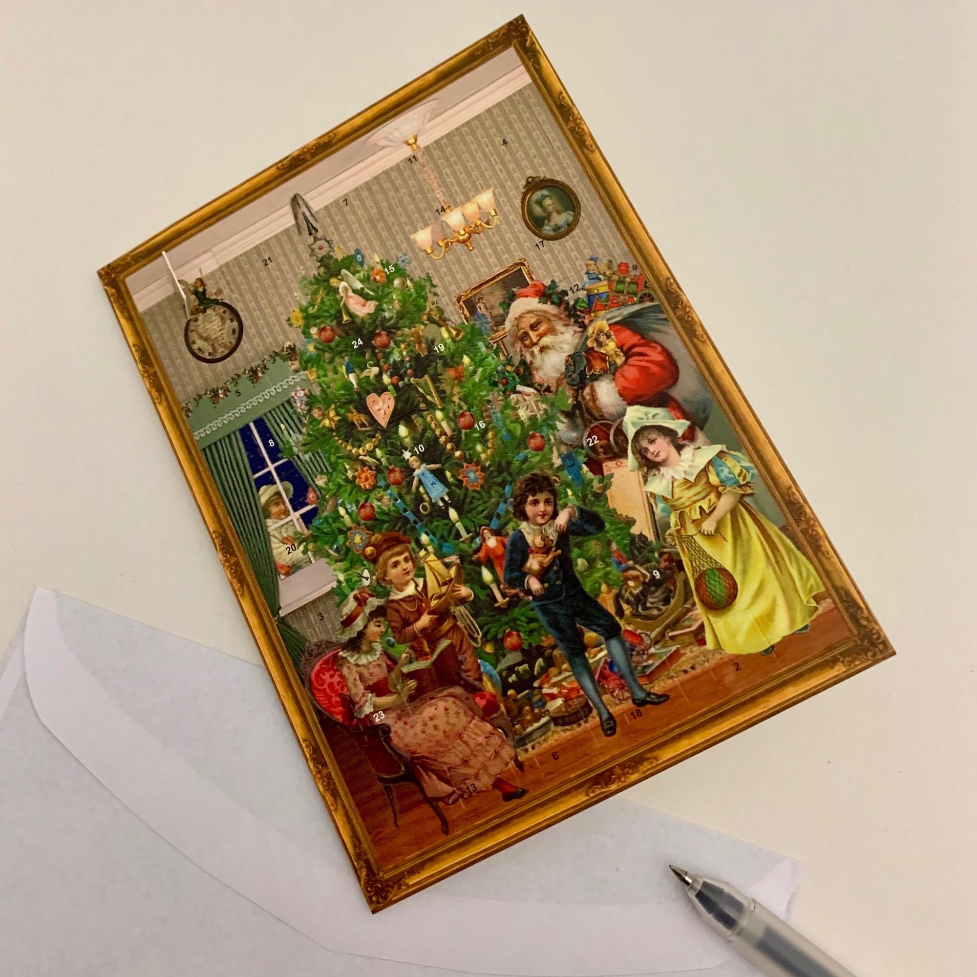 Mini 'Victorian Christmas Tree' Advent Calendar Card - Sale!