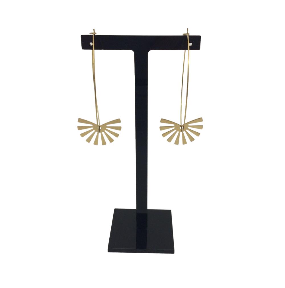 Irth Sunburst Large Brass Hoops