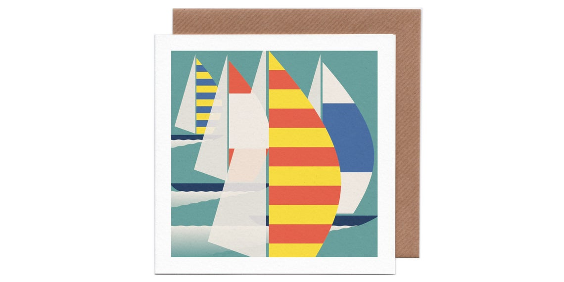 Spinnaker Sailing Boats Card by Humbee
