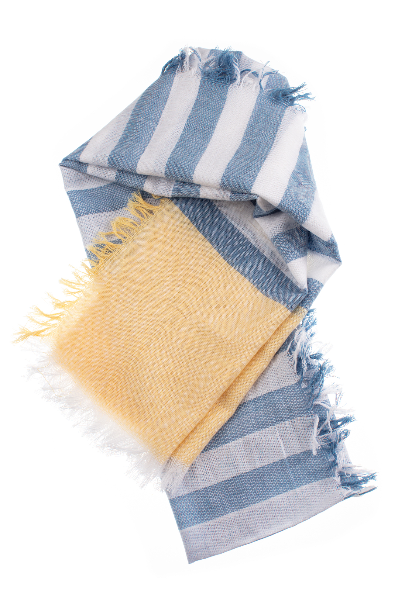 Sky Blue and Lemon Stripes Cotton Scarf