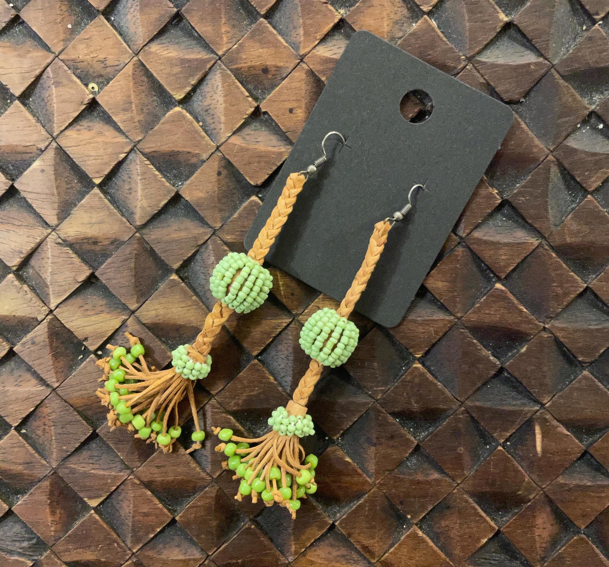 Egyptian Plaited Leather Tassell Earrings - Sale!