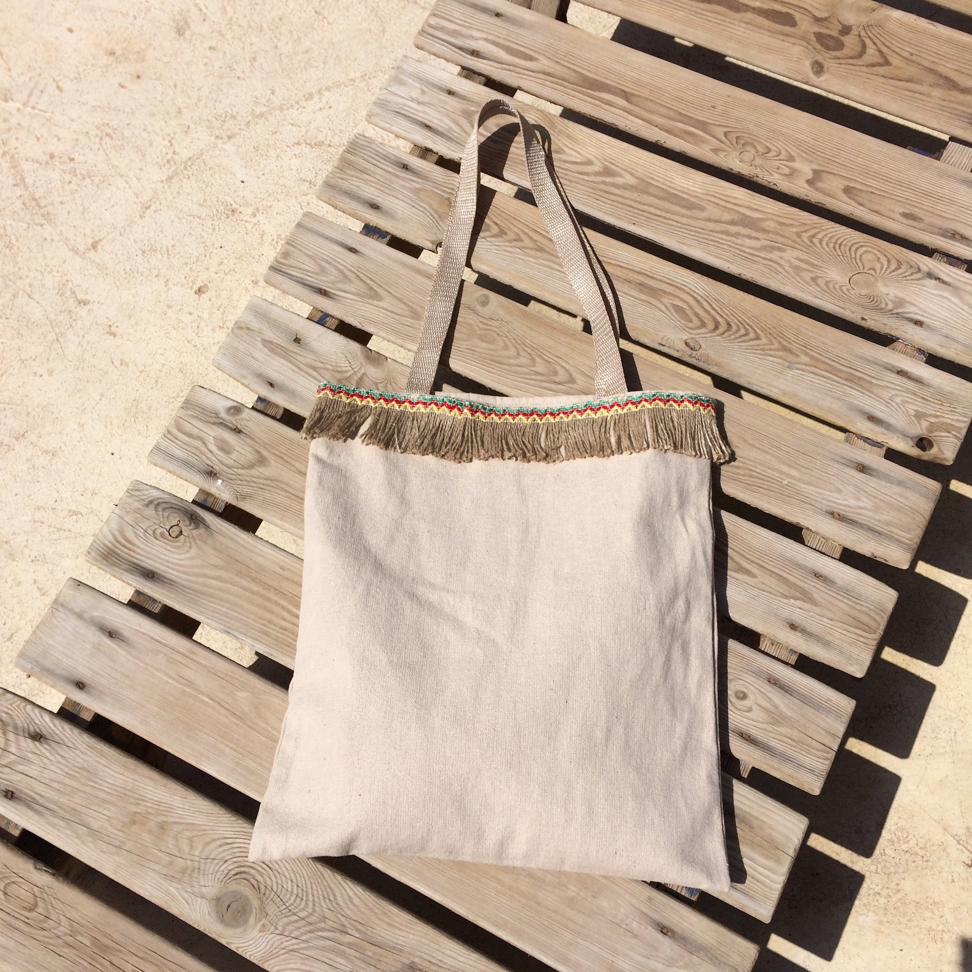Irth Natural Canvas Tote Bag with Fringe