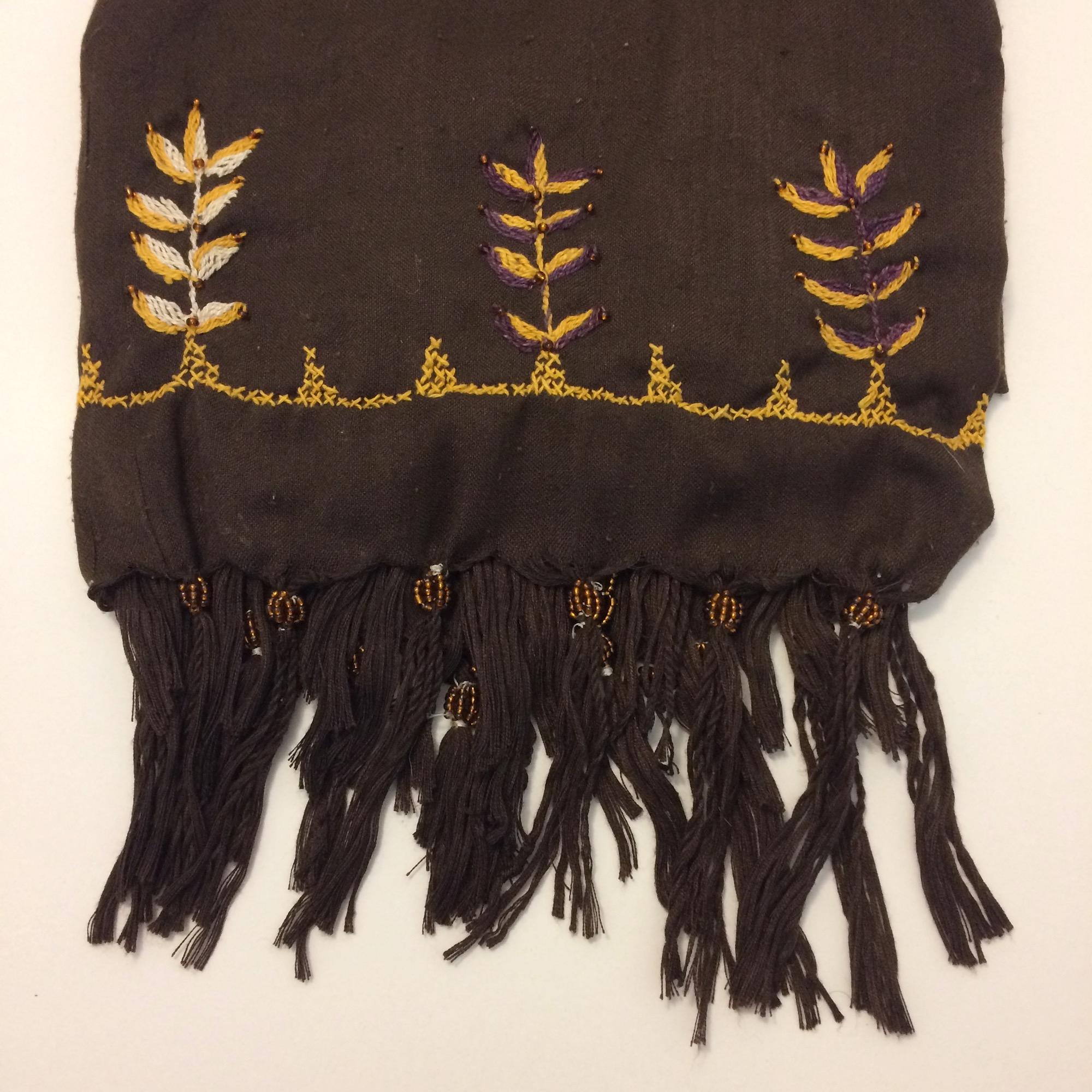 Bedouin Hand-embroidered Dark Brown Shawl - Sale!