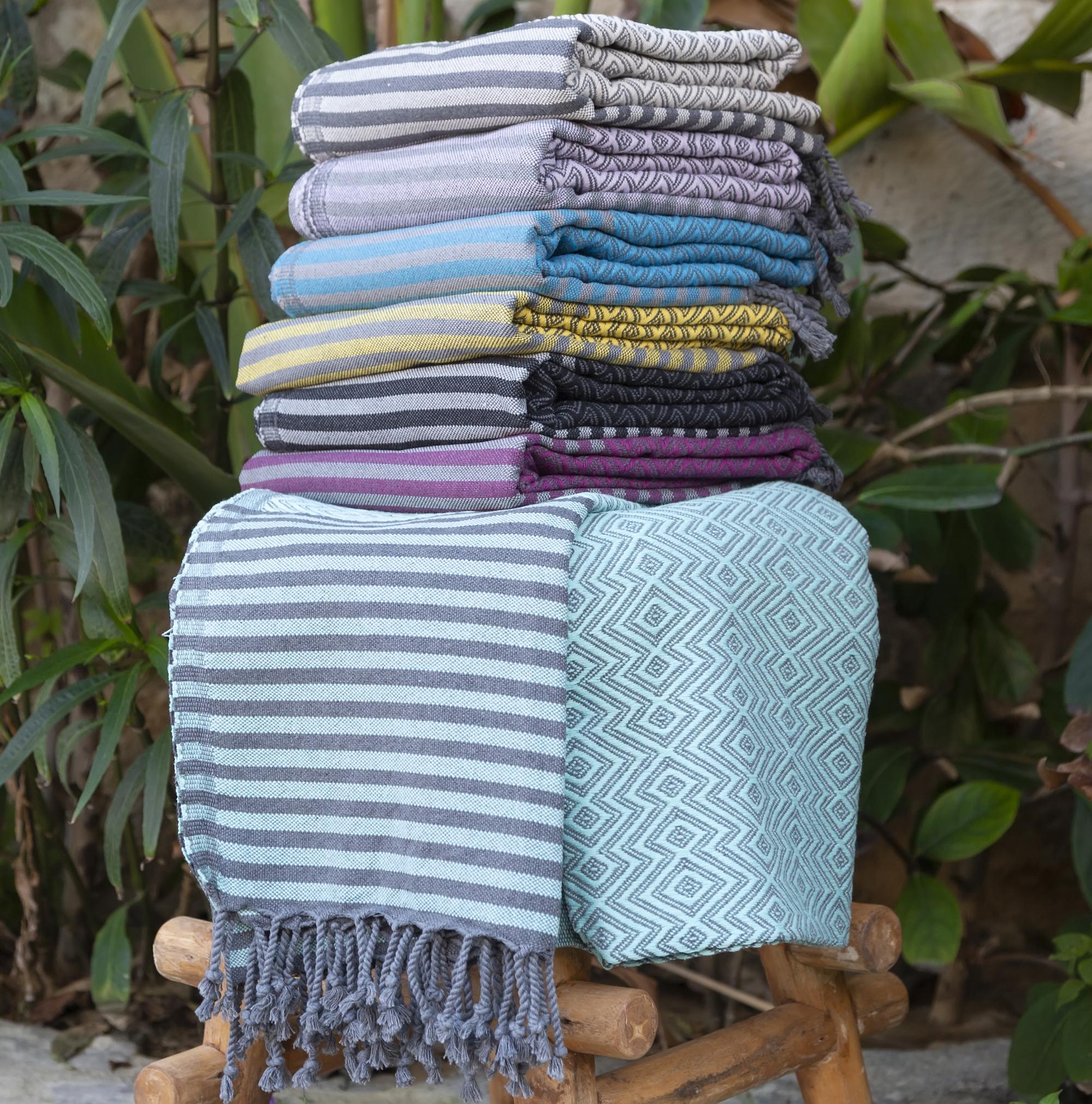 Hammam Towel in Mustard & Grey