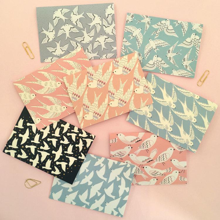 Set of 8 Mini Bird Notecards by Elvira Van Vredenburgh
