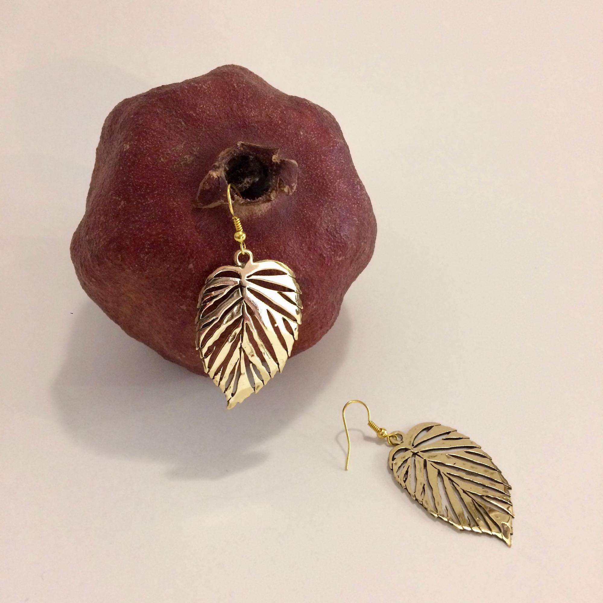Egyptian Brass Leaf Earrings