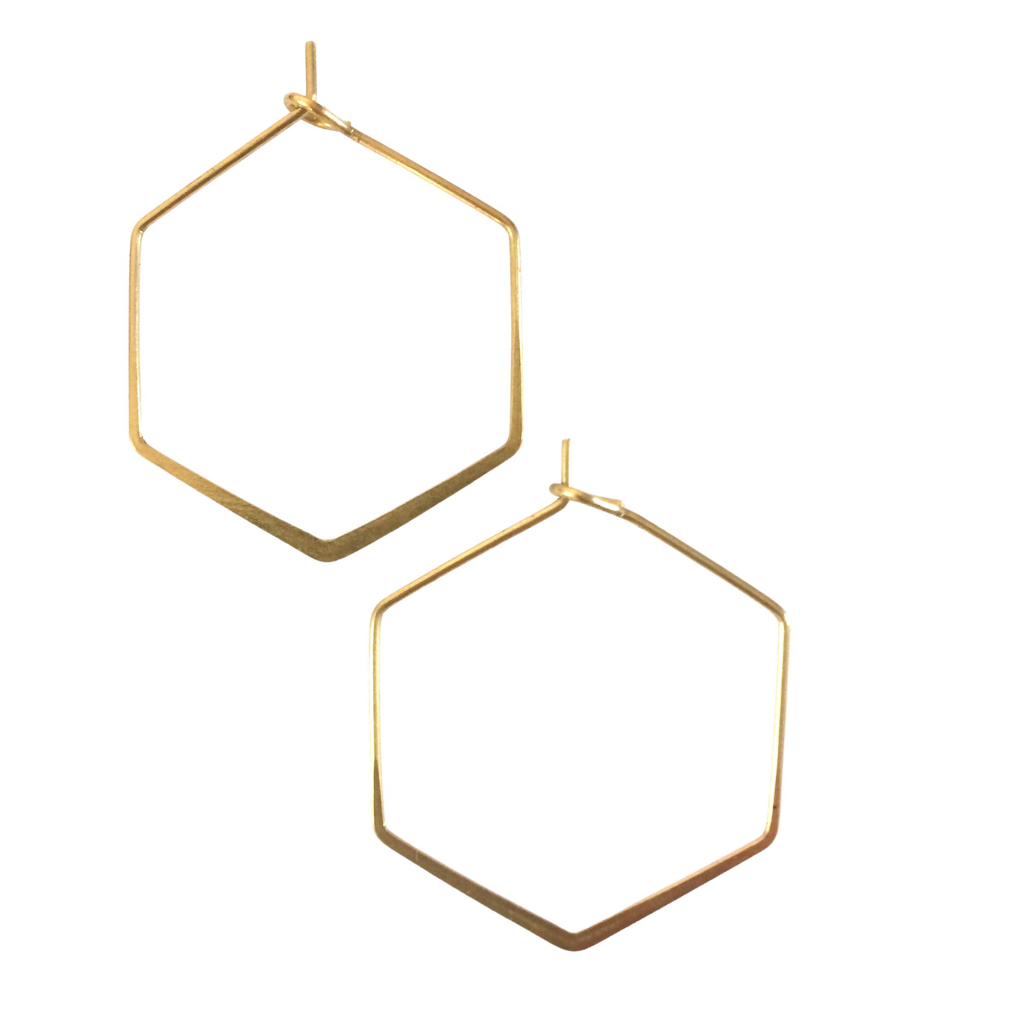 Irth Hexagonal Medium Brass Hoops