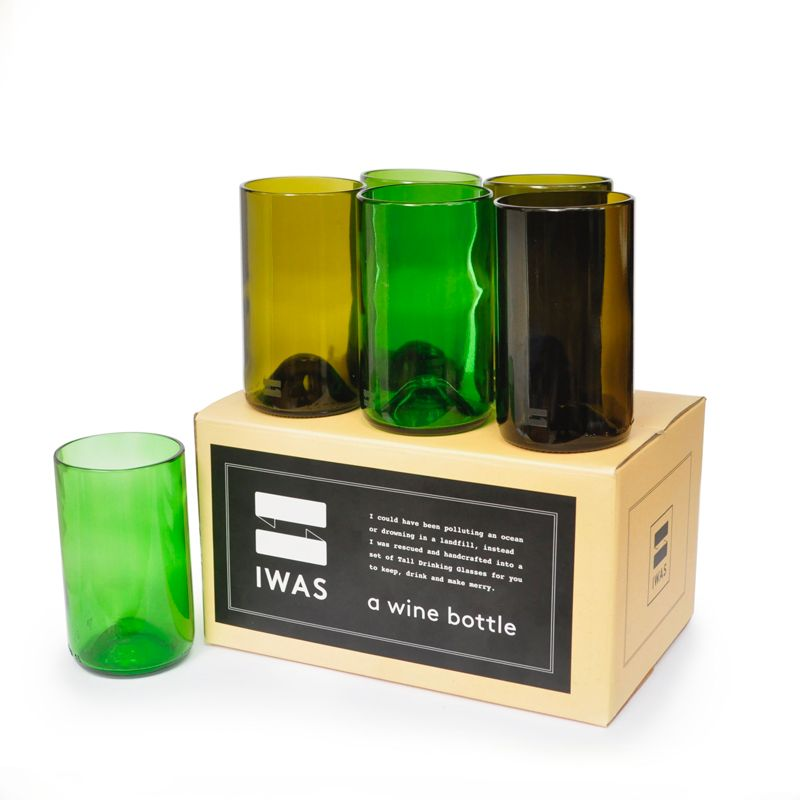 Olive Set of Tall IWAS Upcycled Drinking Glasses
