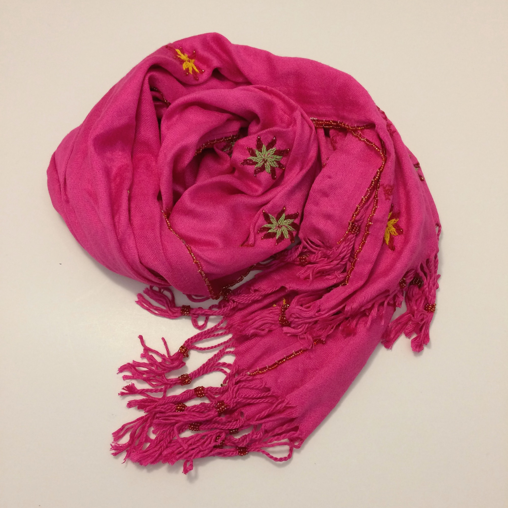Bedouin Hand-embroidered Bright Pink Shawl