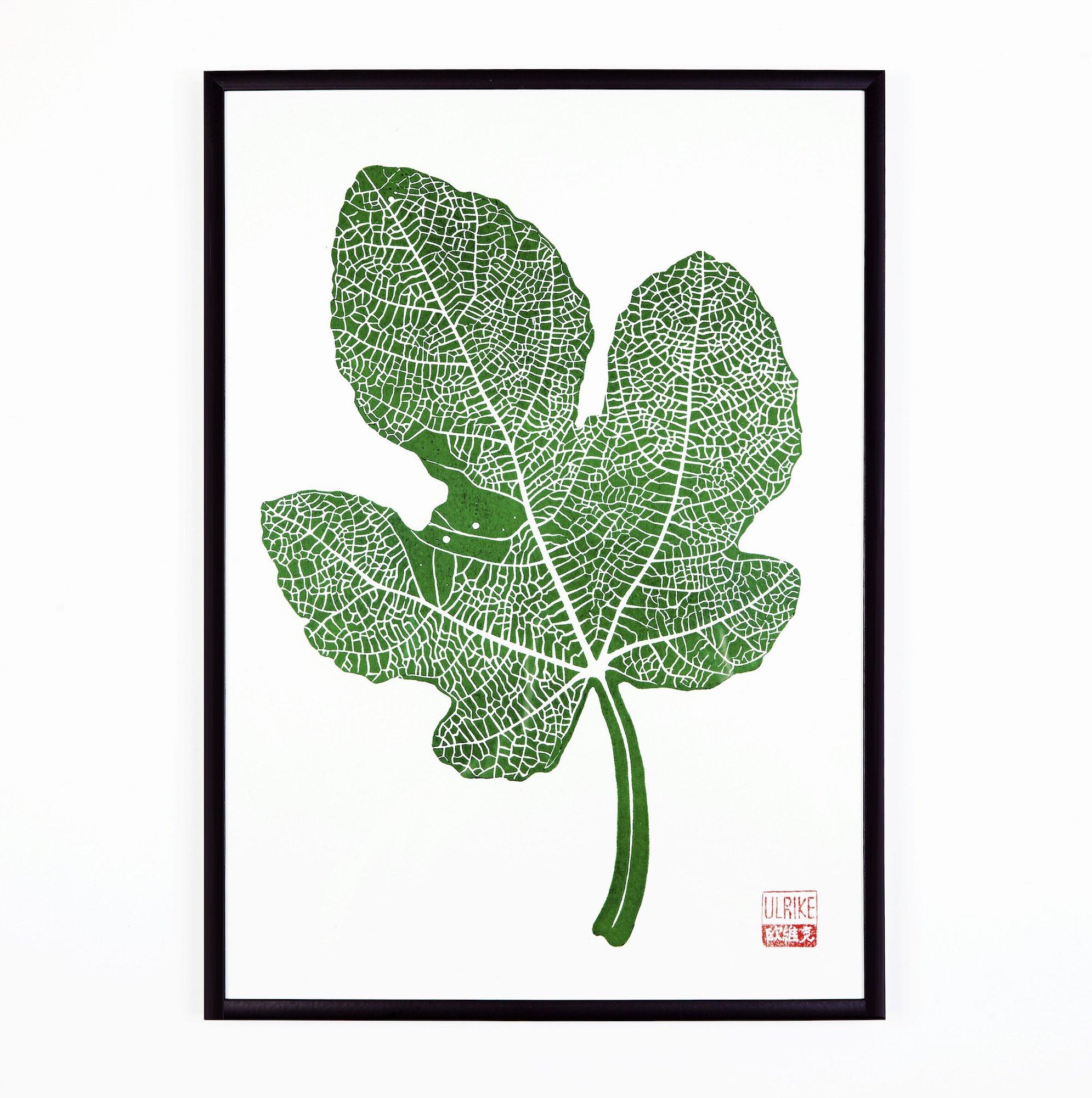 Fig Leaf Lino Print by Studio Wald