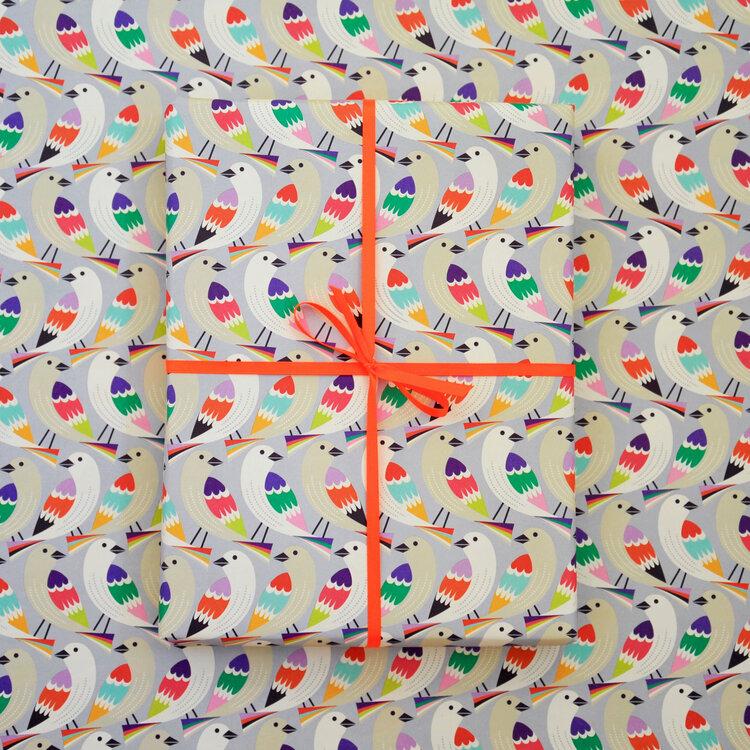 Birds in a Row Gift Wrap by Elvira Van Vredenburgh