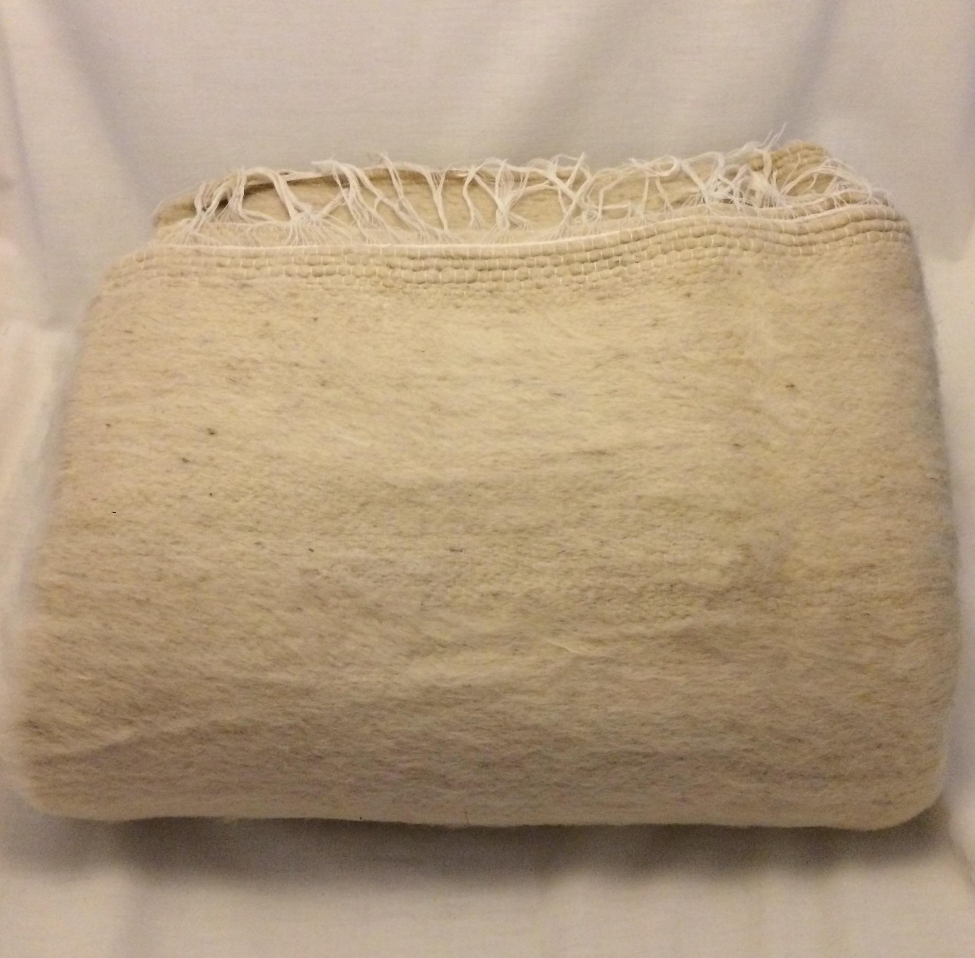 Handwoven Large Bedouin Cream Wool Throw