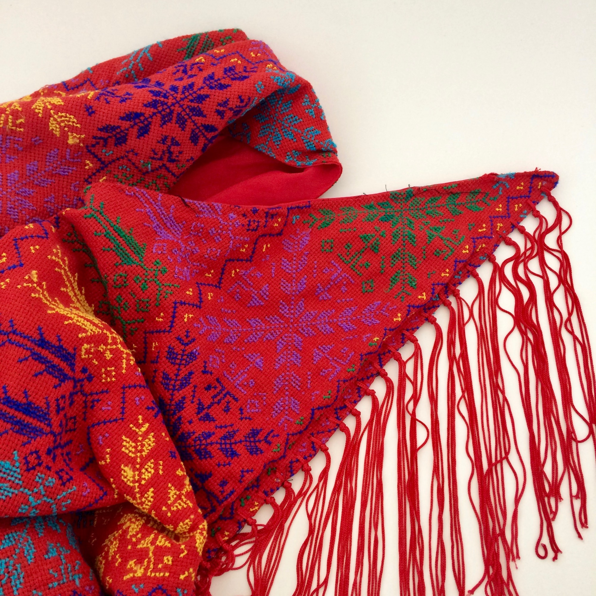 Bedouin Hand-embroidered Triangular Red Fringed Shawl