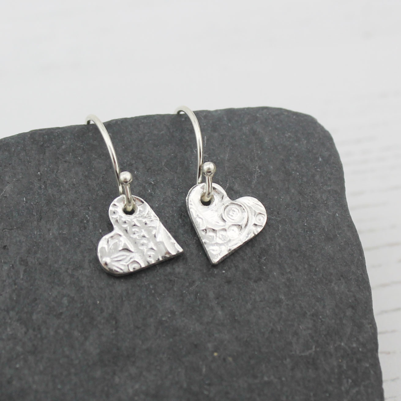 Textured Silver Heart Earrings by Lucy Kemp