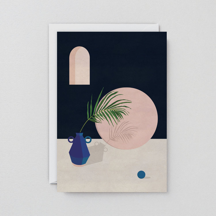 Blue Vase & Leaf Art Card by Wrap