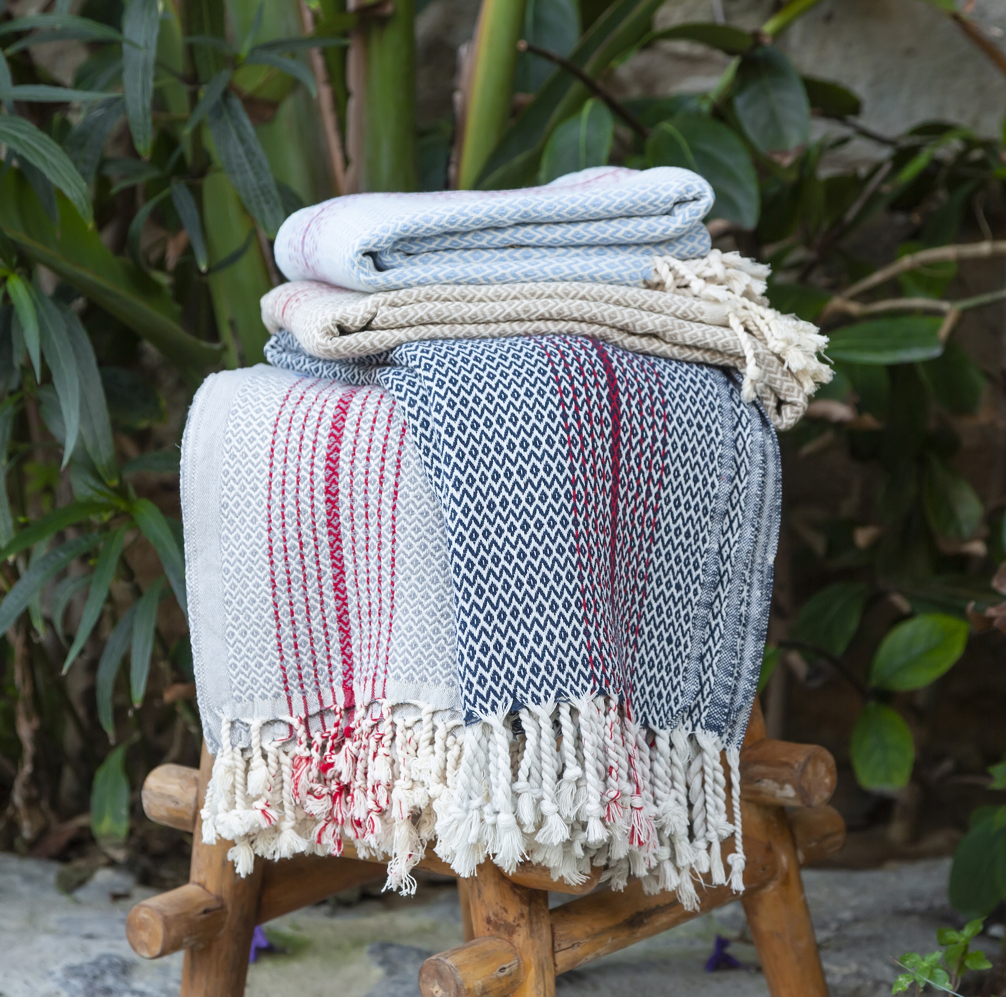Hammam Towel in Grey with Red Stripes