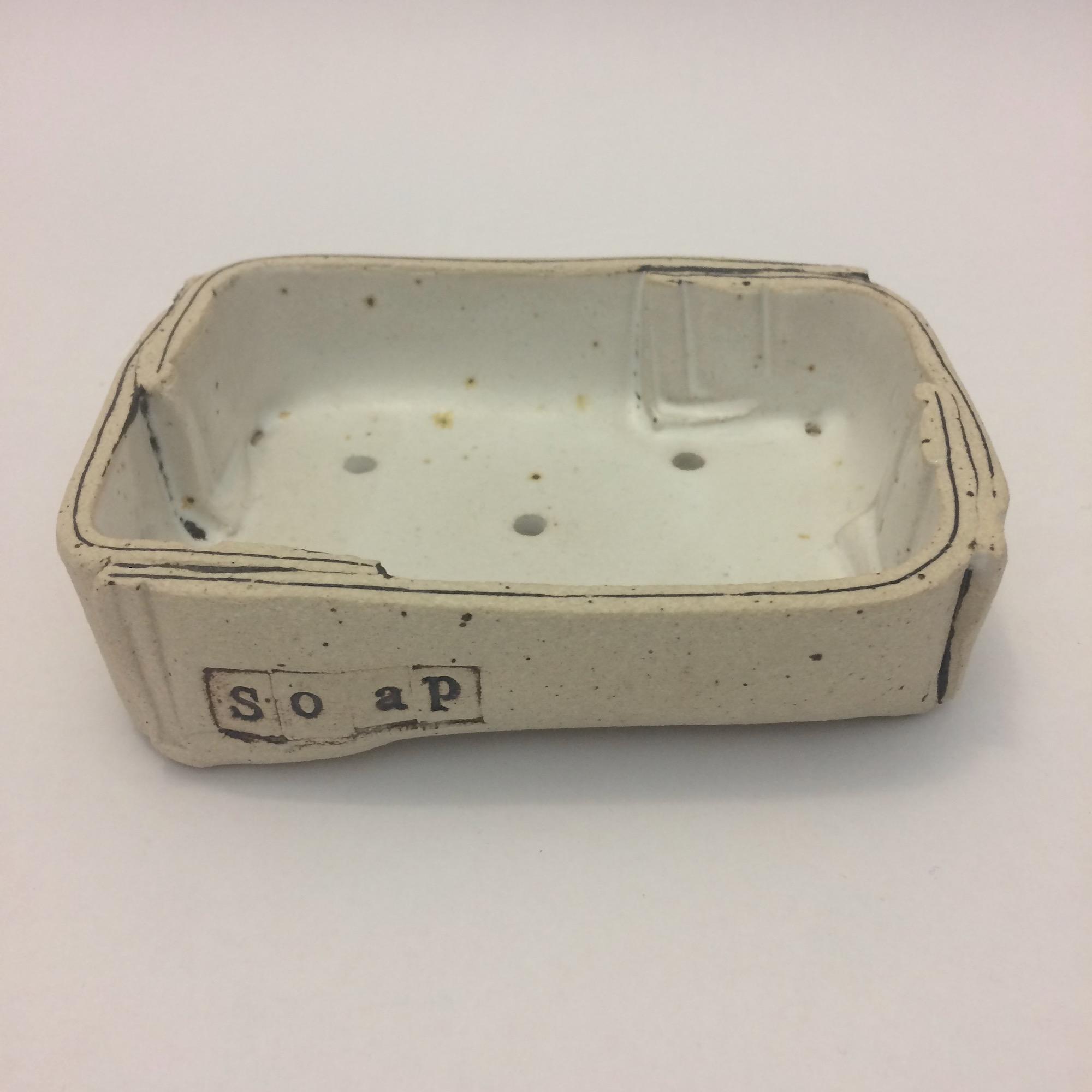 Handmade Flecked White Stoneware Soap Dish by Fiona Veacock