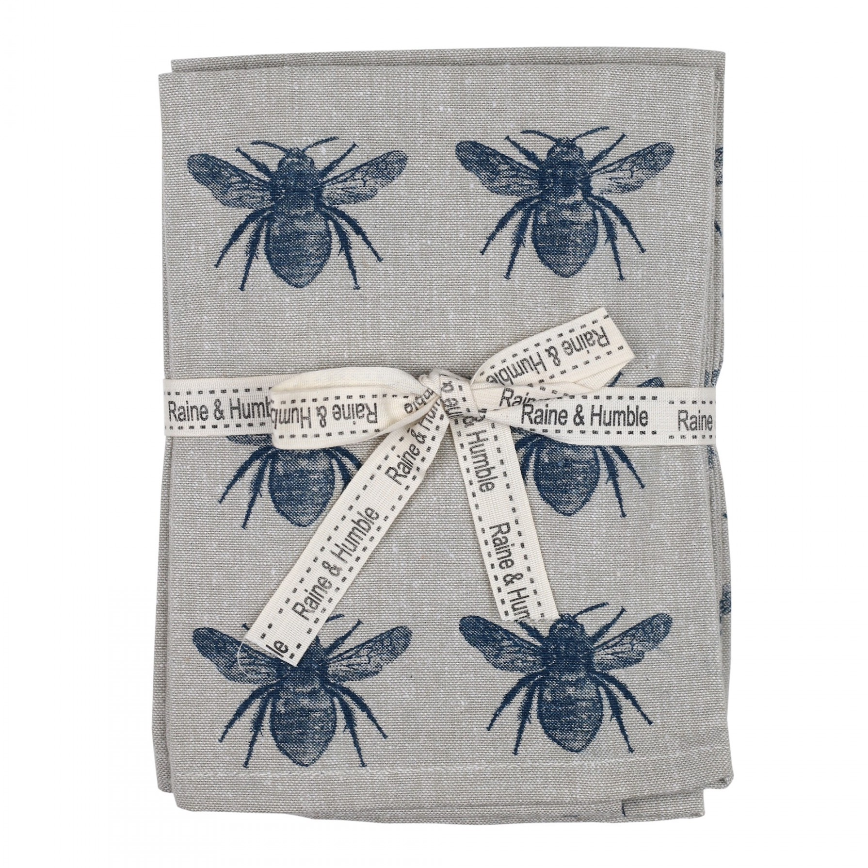 Set of 4 Honey Bee Cloth Napkins in Prussian Blue