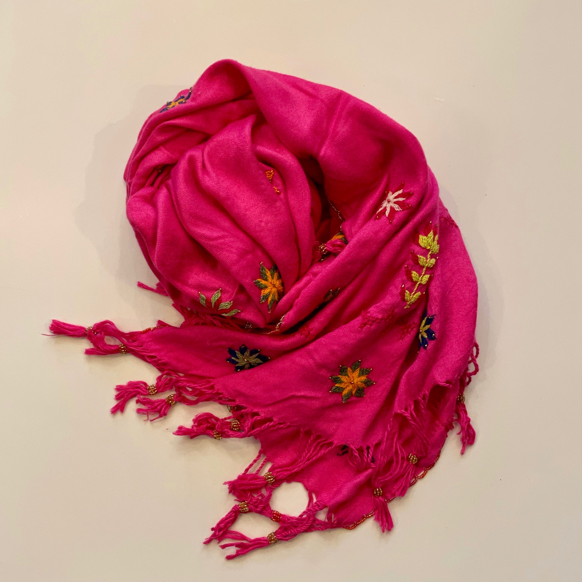 Bedouin Hand-embroidered Hot Pink Shawl