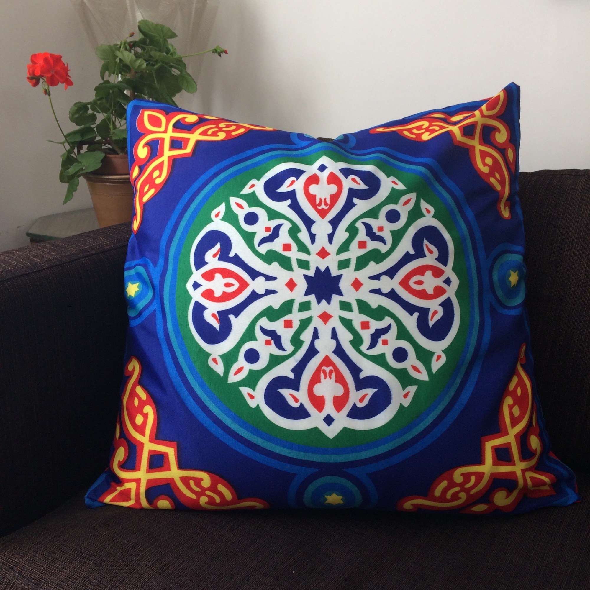 Large Blue Egyptian Ramadan Pattern Cushion
