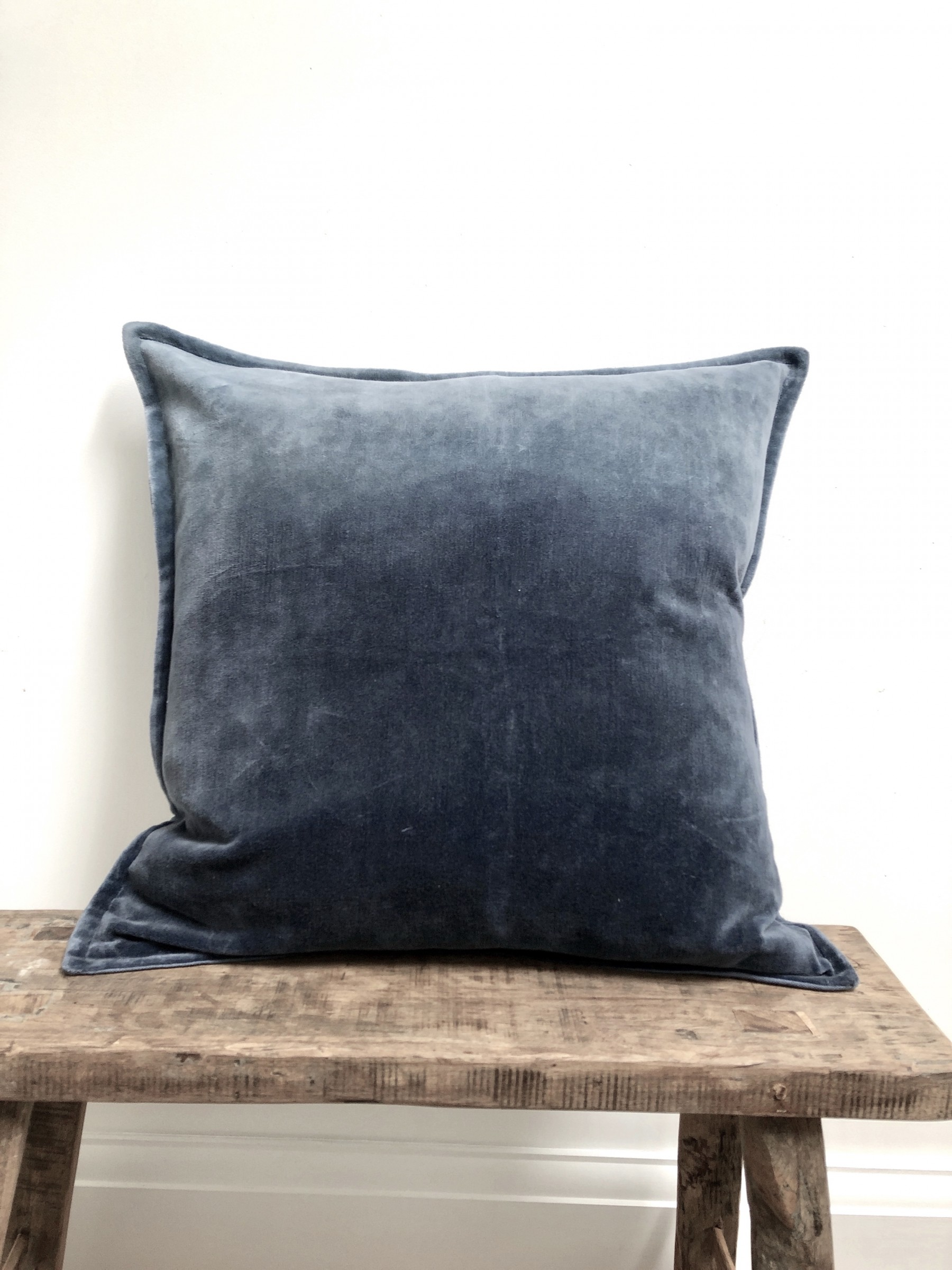 Velvet Ombre Cushion in Denim Blue