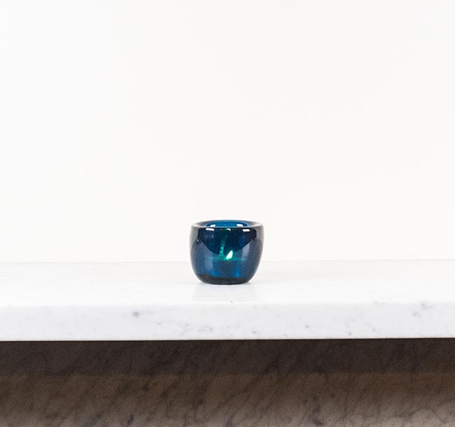 Mineral Blue Handblown Glass Tealight Holder