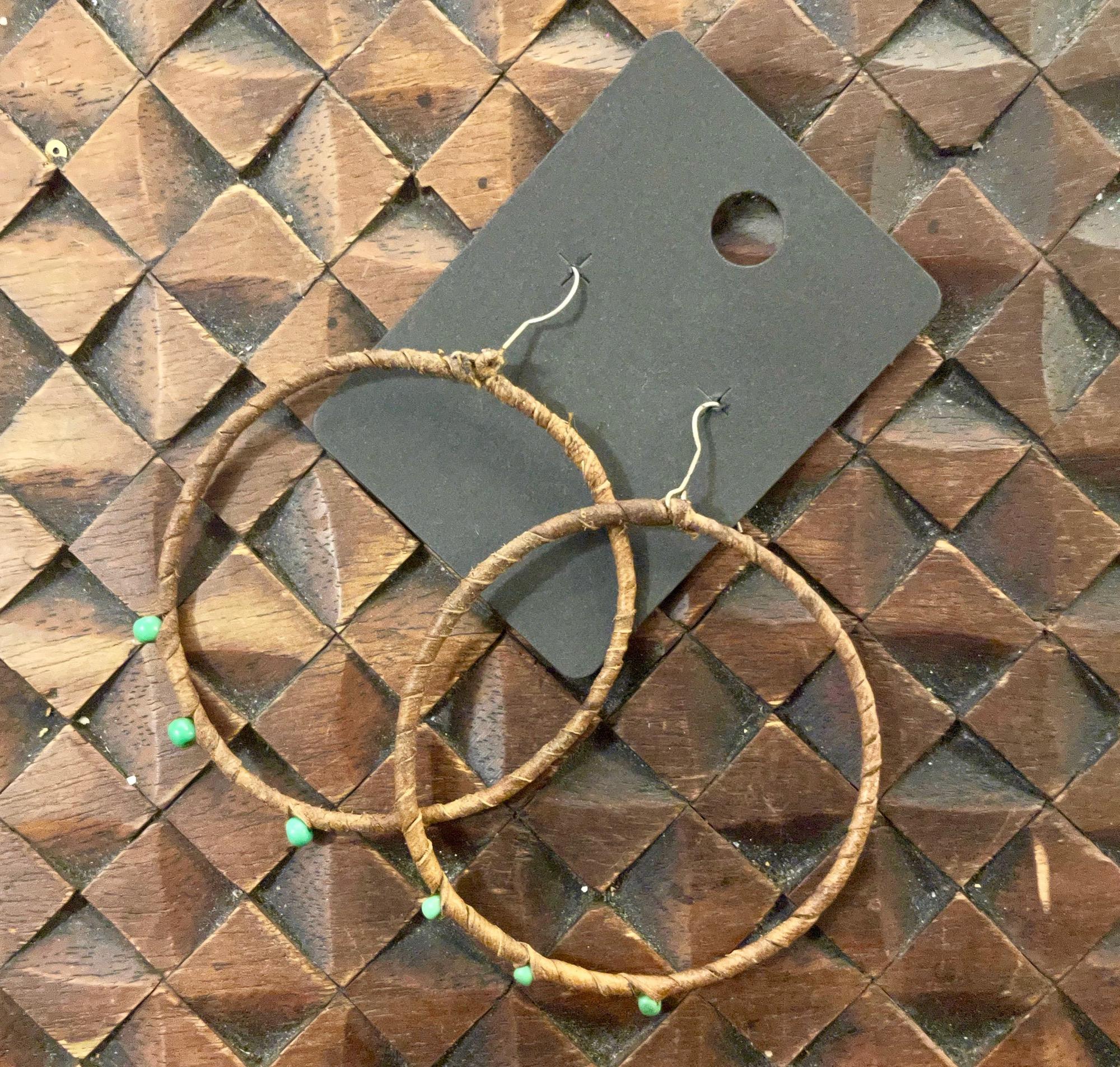 Egyptian Leather & Bead Hoop Earrings - Sale!