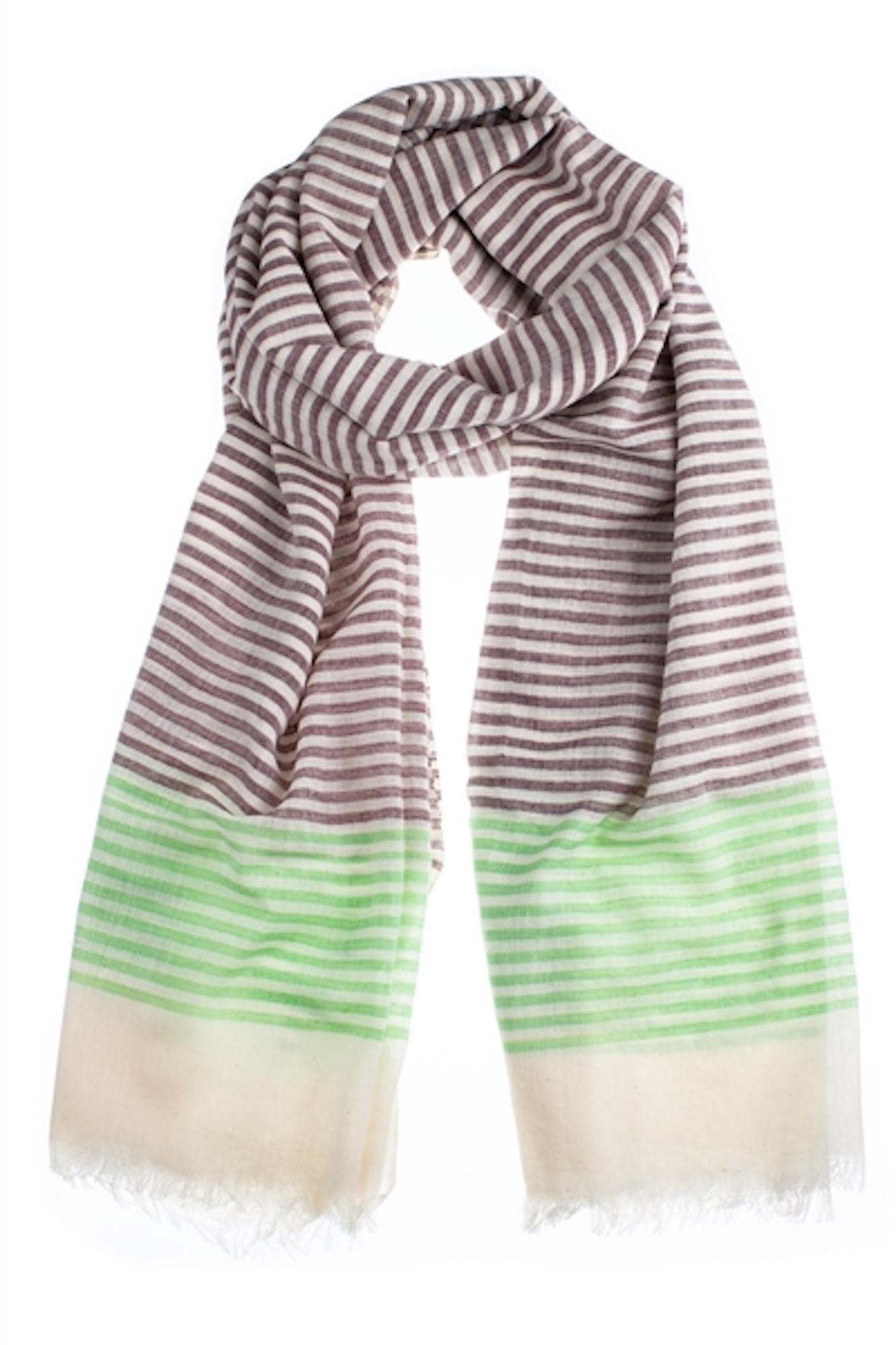 Chalk Brown & Mint Striped Cotton Scarf
