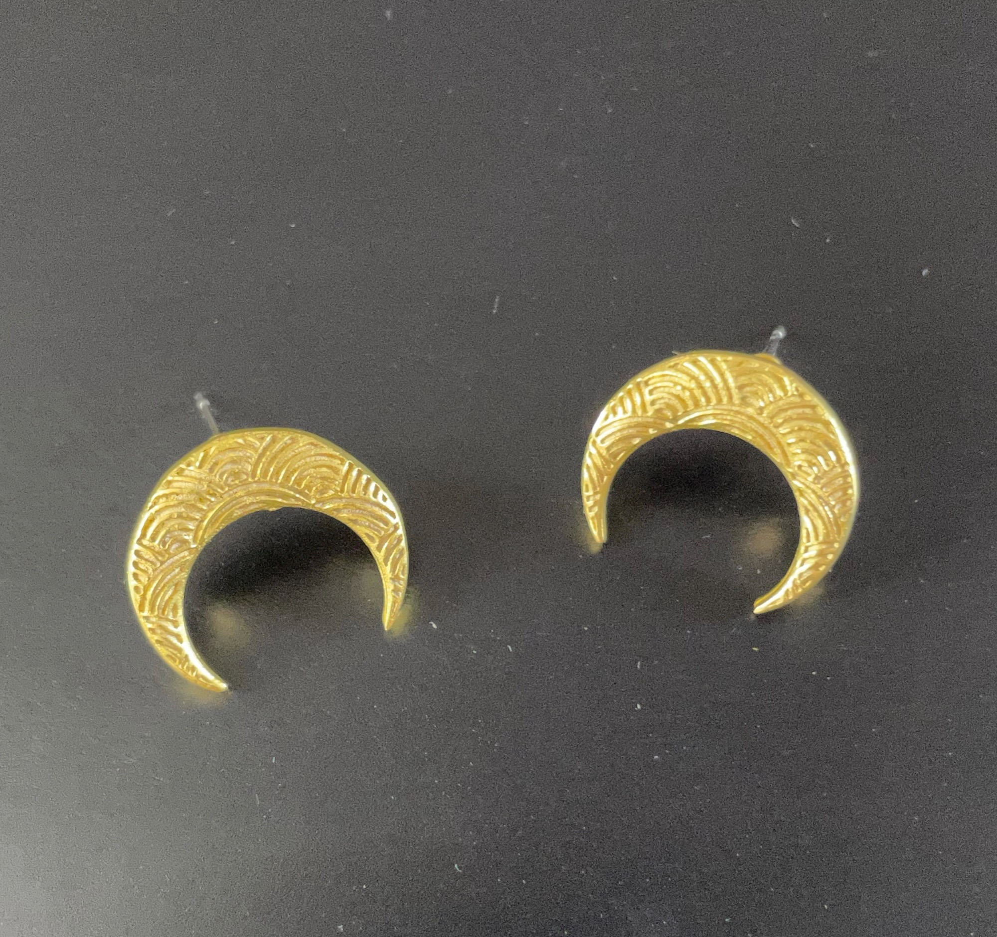 Irth Patterned Brass Crescent Moon Studs