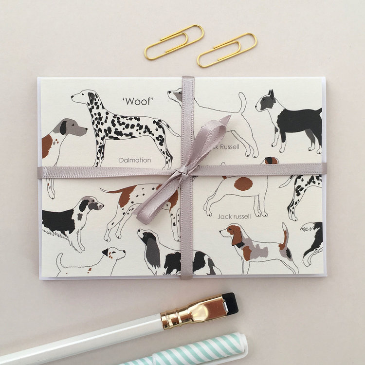 Set of 8 'Woof' Dog Mini Notecards by Elvira Van Vredenburgh - Sale!