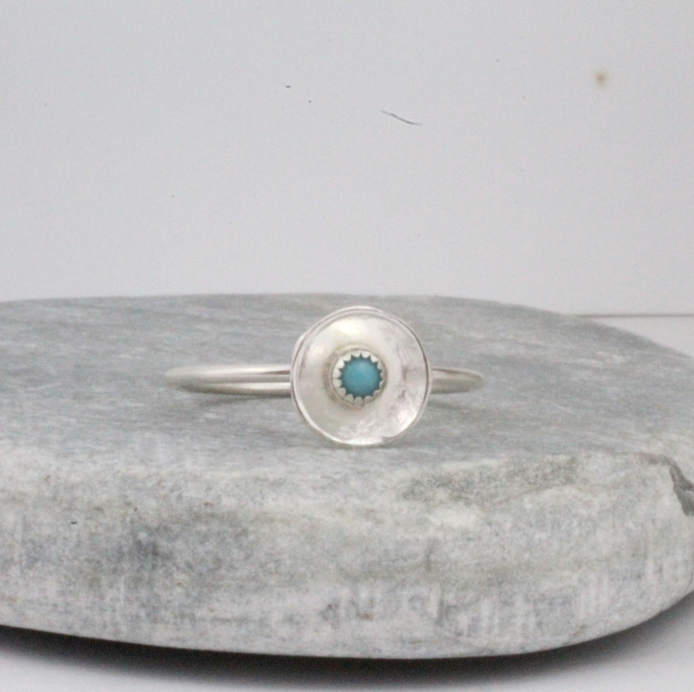 Handmade Sterling Silver & Turquoise Dome Ring by Lucy Kemp