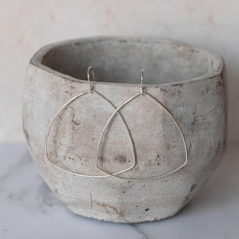 Silver Geo Triangle Earrings by Lucy Kemp